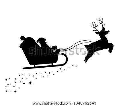 Christmas Santa Sleigh Reindeer Rudolf Vector Silhouette