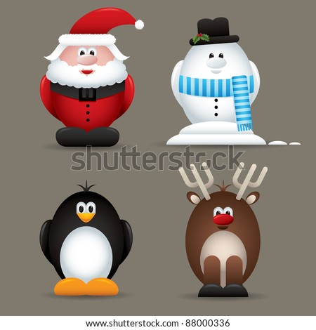 Christmas santa, snowman, penguin and reindeer