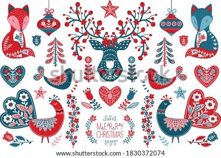 Christmas Scandinavian Folk Art Design collection set  stock photo