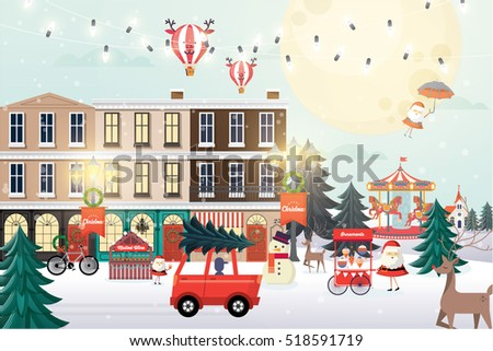 christmas scene / christmas greetings template vector/illustration