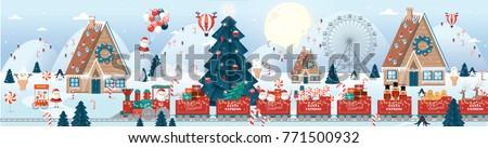 christmas scene/greetings template vector/illustration