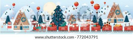 christmas scene village vector