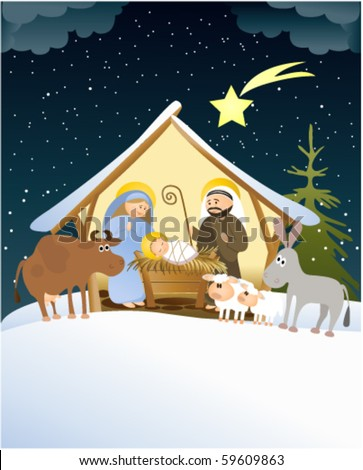 Christmas scene with holy family