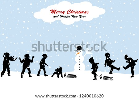 Christmas scene with  kids having fun in the snow