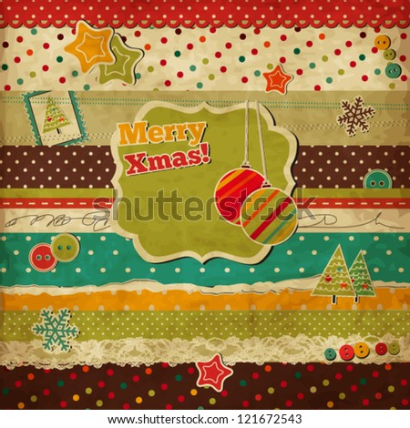 Christmas scrap vintage card with holiday frame