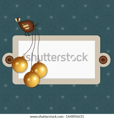 Christmas Scrapbook Background - A nice background with bird, balls and copy space for text.