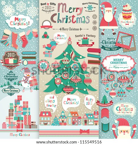 Christmas scrapbook elements. Vector illustration.