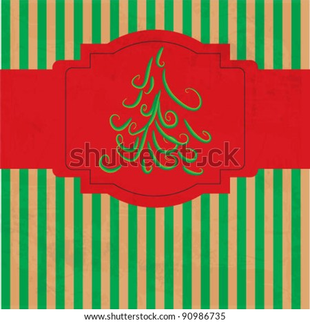 Christmas scrapbooking with christmas tree. vector illustration