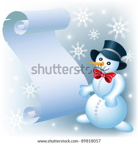 Christmas scroll and Snowman