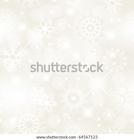 Christmas seamless background with glitter white snowflakes - vector background for continuous replicate.