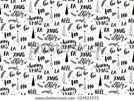 christmas seamless background with handwritten lettering vector illustration for merry christmas and happy new year