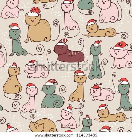 christmas seamless cartoon cats