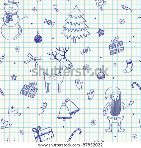 Christmas seamless doodles