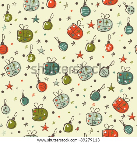 Christmas seamless pattern, doodled card