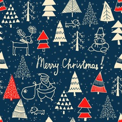 Christmas seamless pattern for greeting cards, wrapping papers with text. Hand drawn winter background from doodle Christmas trees, Santa, snowflakes, deer and dogs. Vector illustration.