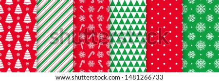 Christmas seamless pattern. Holiday background. Vector. Xmas New year texture with tree, polka dot, candy cane, snowflake, triangle. Print for wrapping paper, web, textile. Red green illustration