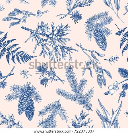 Christmas seamless pattern in engraving style. Vintage. Botanical background with coniferous plants, ferns and berries. Vector illustration. Blue.