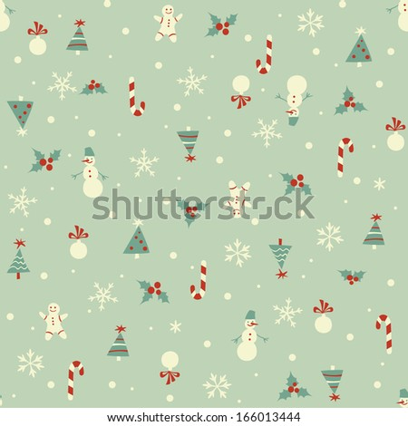 Christmas seamless pattern in retro style