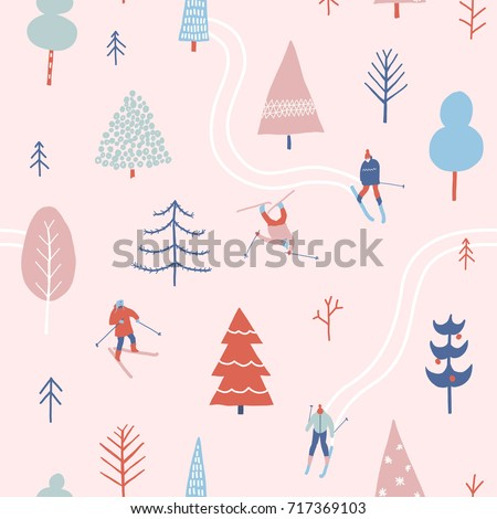 Christmas seamless pattern in vector. Winter season illustration with people are skiing in the snow covered forest.