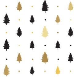 christmas seamless pattern. new year hand drown firs wrapping paper design, winter holiday decoration, black and gold christmas trees modern background