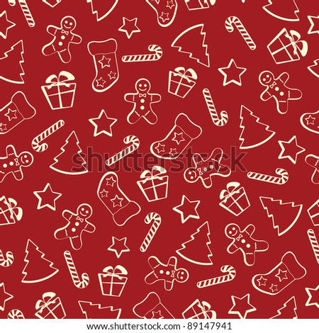 Christmas seamless pattern on a red background