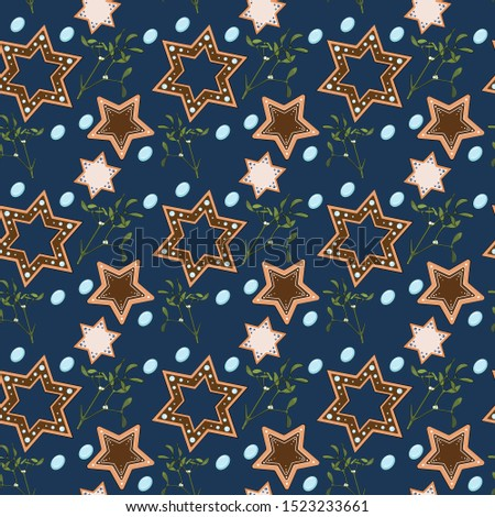 Christmas seamless pattern. Seamless pattern with star cookie gingerbread, mistletoe and candy.  Isolated on blue. Wrapping paper.
