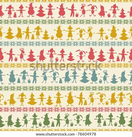 Christmas seamless pattern with balls , deer, Santa, elf, deer, tree and present