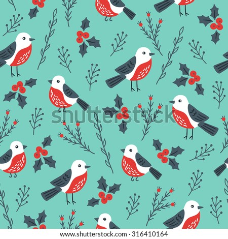 christmas seamless pattern with birds branches and poinsettia perfect for wallpapers wrapping papers