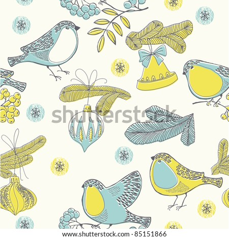 Christmas seamless pattern with bullfinches - stock vector