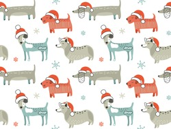 Christmas seamless pattern with cute cartoon dogs in Santa hats. Vector illustration. Creative endless holiday background. Perfect for kids design, fabric, wrapping, wallpaper, textile