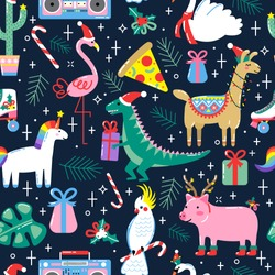 Christmas seamless pattern with cute funny animals