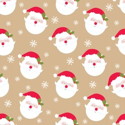 christmas seamless pattern with cute santa head design