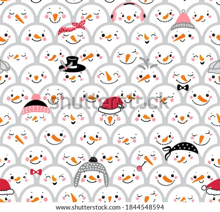Christmas Seamless Pattern with Cute Snowman Heads. Crowd of Snowmen. Winter Holiday Vector Background with Cartoon Funny Doodle Snowman Faces. Winter Holidays, Christmas, New Year Design