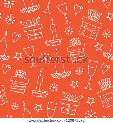 Christmas seamless pattern with gifts, candles, goblets. Endless doodle background with boxes of presents. Hand drawn decorative holiday cartoon design for craft papers, prints, wallpapers