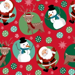 Christmas seamless pattern with happy reindeer, Santa Claus, snowman for greeting cards, fabric, wrapping papers. Vector illustration. Perfect for holidays. Separate elements.