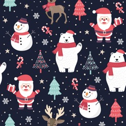 Christmas seamless pattern with santa and polar bear background, Winter pattern with reindeer, wrapping paper, pattern fills, winter greetings, web page background, Christmas and New Year