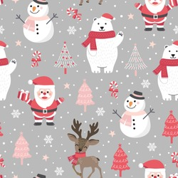 Christmas seamless pattern with santa and polar bear background, Winter pattern with reindeer, wrapping paper, winter greetings, web page background, Christmas and New Year greeting cards
