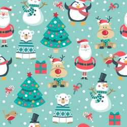 Christmas seamless pattern with Santa, deer, gifts, penguin, polar bear, tree, Robin bird and snowman.