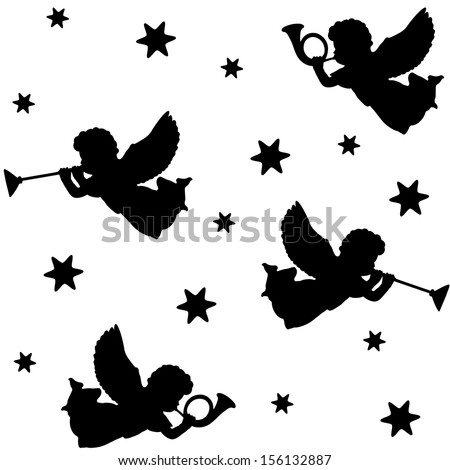 Christmas Angel Silhouette Christmas seamless pattern