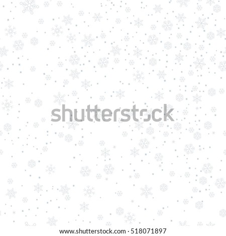 Christmas seamless pattern with snowflakes abstract background. Gray snowflakes.   Vector illustration. White background. Holiday design for Christmas and New Year fashion prints.