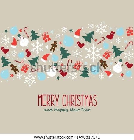 Christmas seamless pattern with snowflakes, snowman and christmas decoration. Happy New Year multicolored background. Vector template for greeting card.