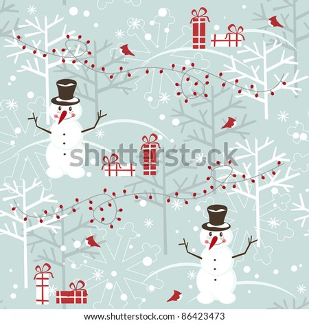 Christmas seamless pattern with snowman and present - stock vector