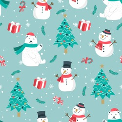 Christmas seamless pattern with snowman background, Winter pattern with bear, wrapping paper, pattern fills, winter greetings, web page background, Christmas and New Year greeting cards