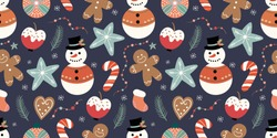 Christmas seamless pattern with snowman, candies and gingerbread, winter design