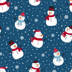 Christmas seamless pattern with snowman on blue background, Winter pattern with snowflakes, wrapping paper, pattern fills, winter greetings, web page background, Christmas and New Year greeting cards