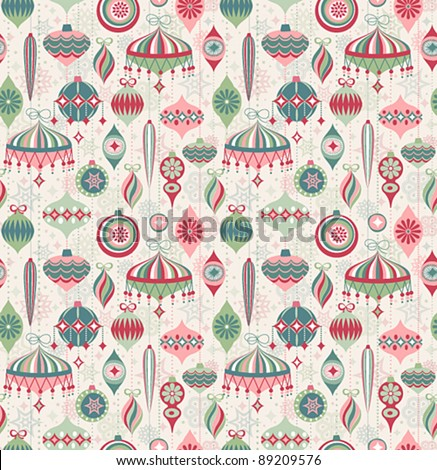 Christmas seamless retro pattern. Vector illustration.