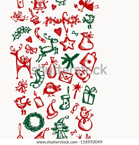Christmas seamless sketch for your design