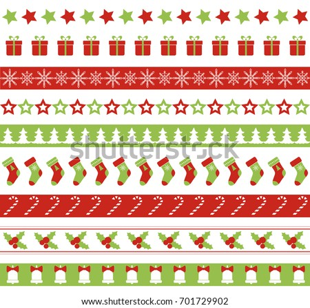 Christmas seamless vector borders. Endless ornament for washi tapes, wrapping paper, greeting cards design