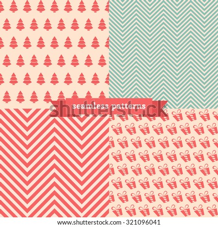 Christmas seamless vector pattern set