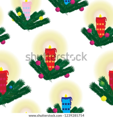 Christmas seamless with fir and candles on white background